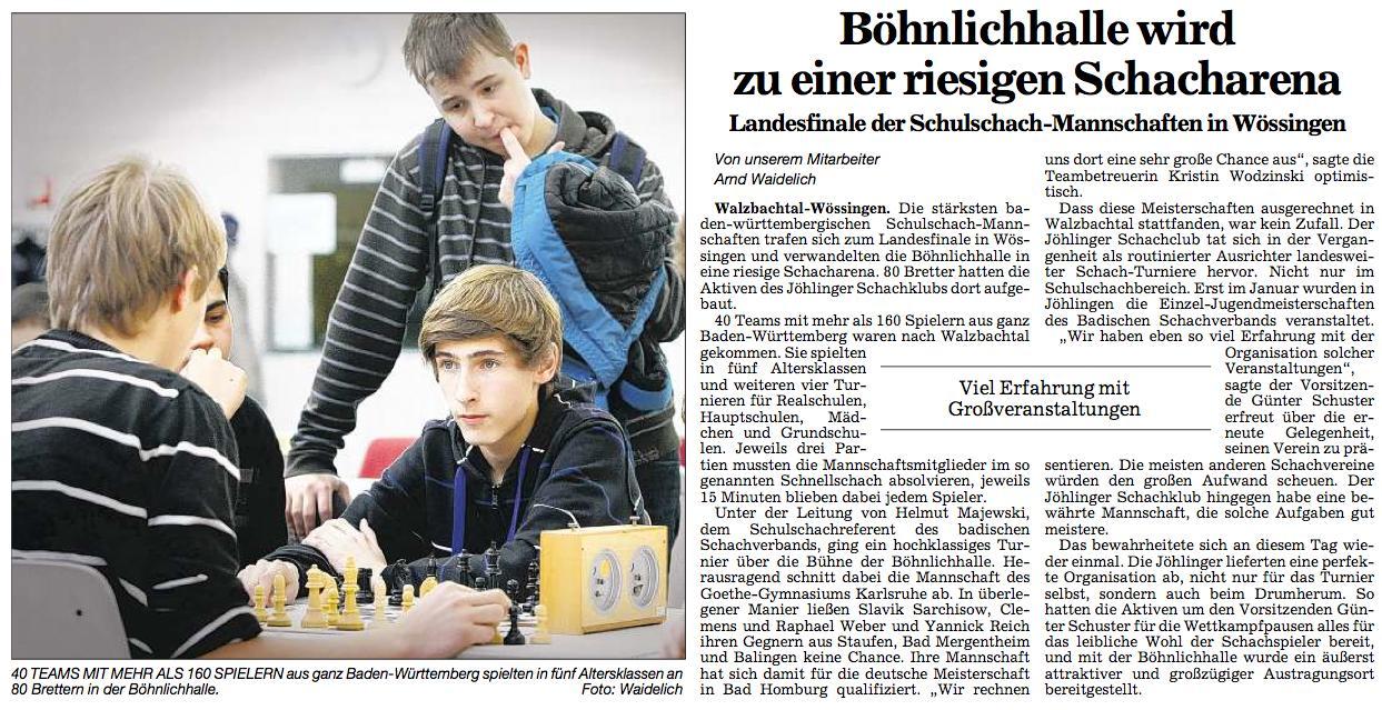 Baden-Württembergischen Schulschachmeisterschaften 2010